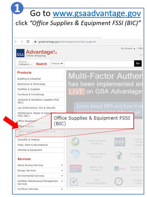 Ordering on GSA Advantage - Step #1